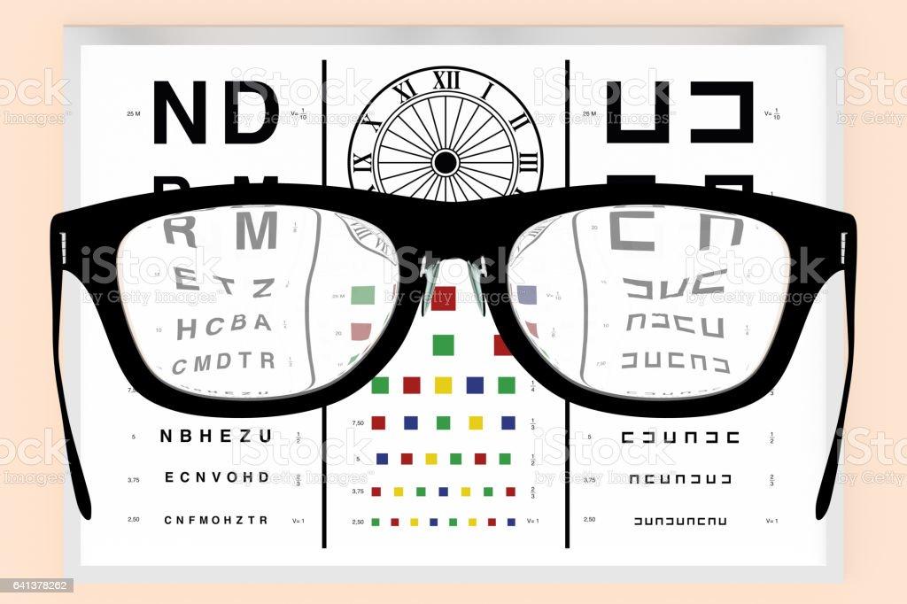 Optometrist vision test and eyeglasses vector art illustration
