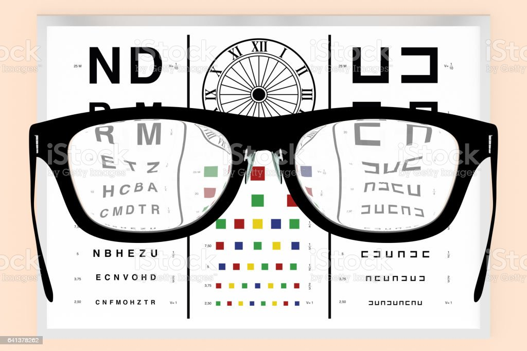 Optometrist vision test and eyeglasses vector art illustration