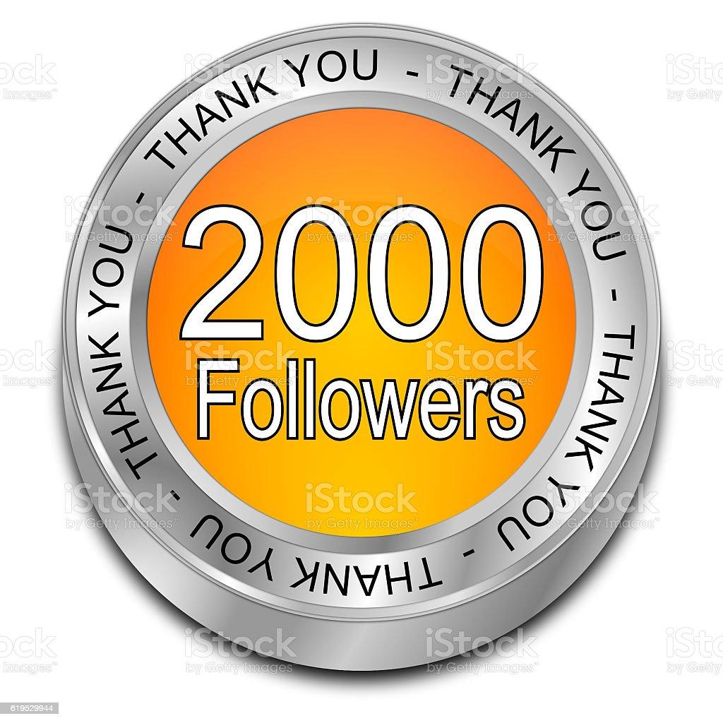orange 2000 Followers Thank you button - 3D illustration vector art illustration