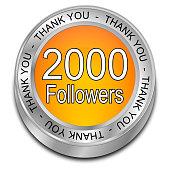 orange 2000 Followers Thank you button - 3D illustration
