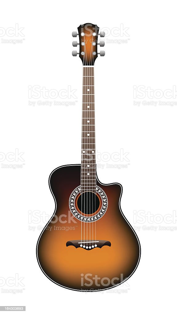 orange acoustic guitar vector art illustration