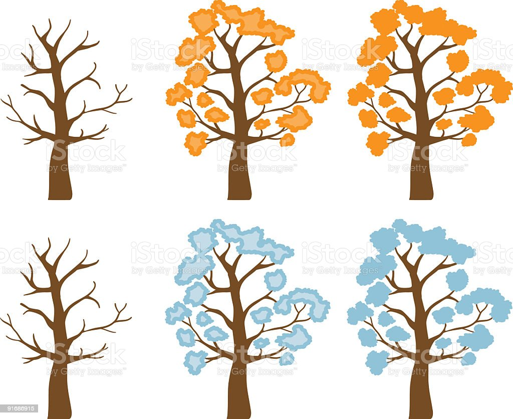 Orange and Blue trees royalty-free stock vector art