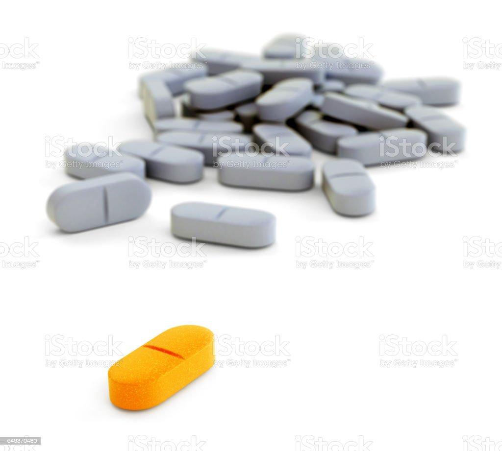 Orange and gray pills on white vector art illustration