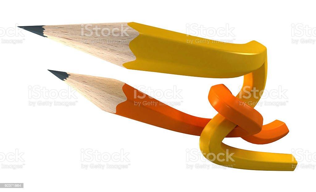 Orange and yellow  pencils interlaced royalty-free stock vector art