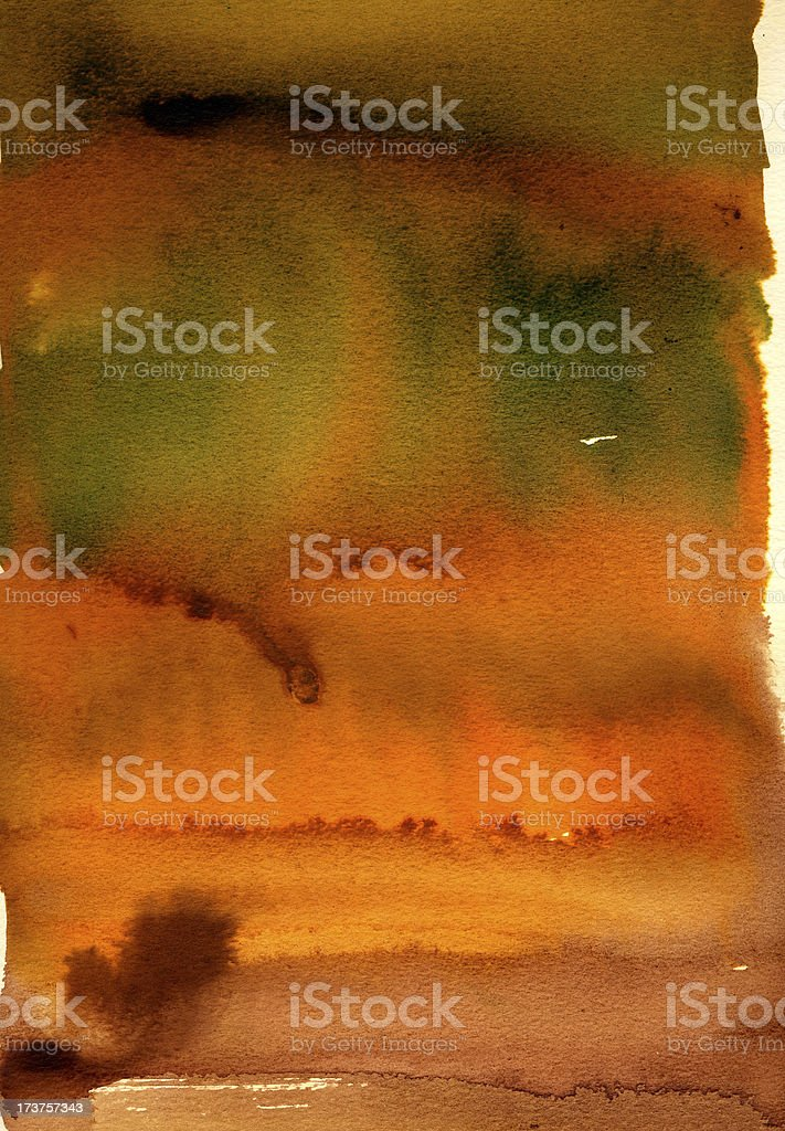 Orange, brown and green wash. royalty-free stock vector art
