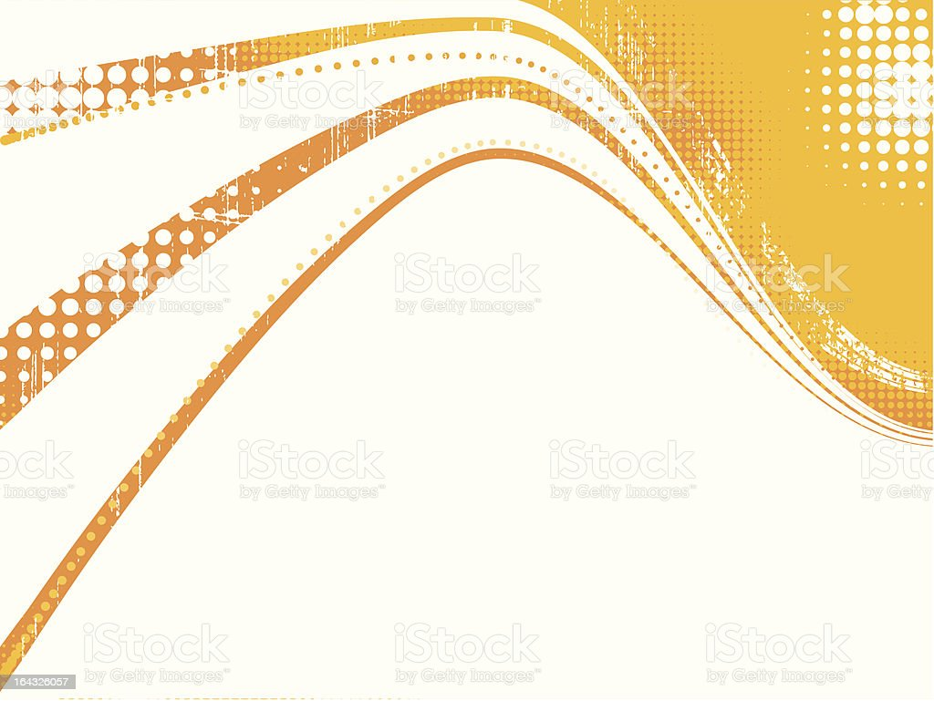 orange halftone grunge waves royalty-free stock vector art