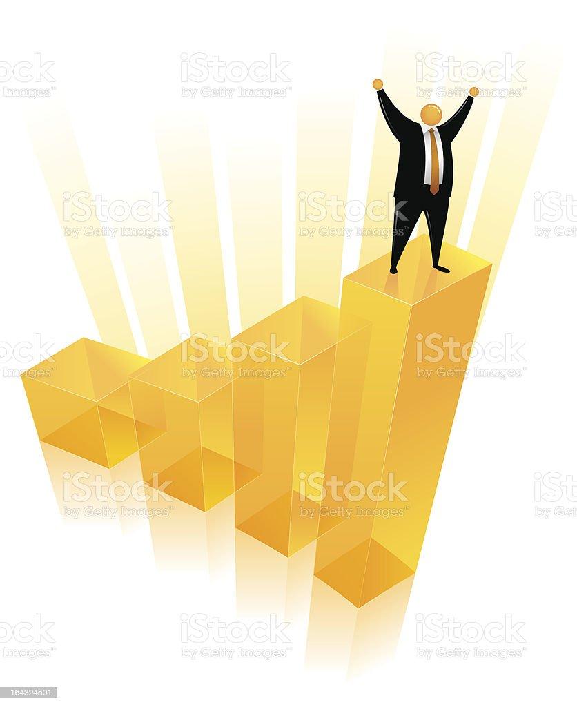Orange Head Man on the Bar Chart royalty-free stock vector art