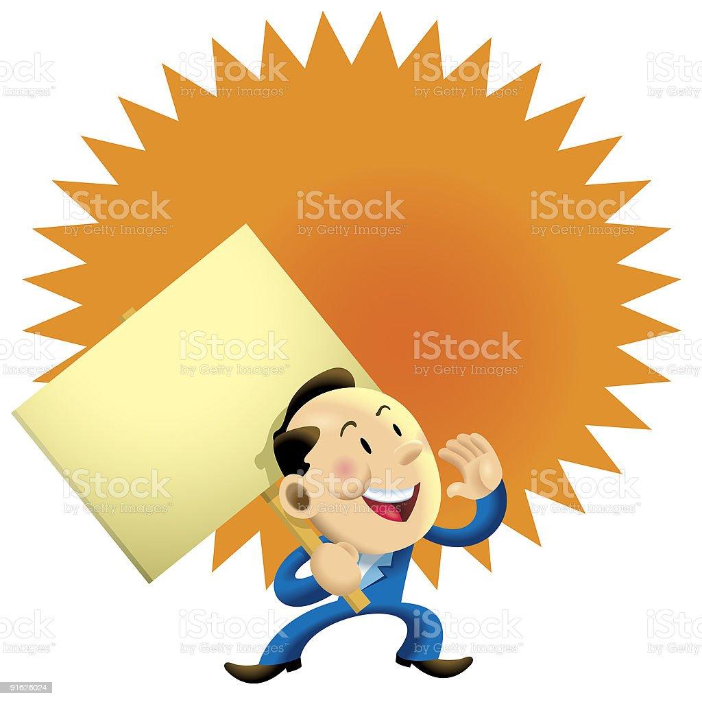 Orange message board business man royalty-free stock vector art