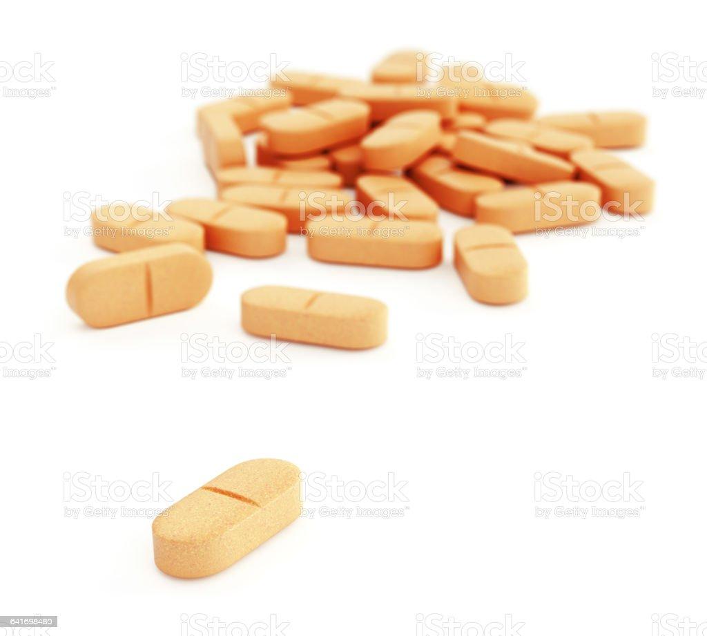 Orange pills on white vector art illustration