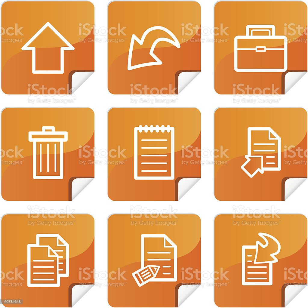 Orange stickers document icons set royalty-free stock vector art