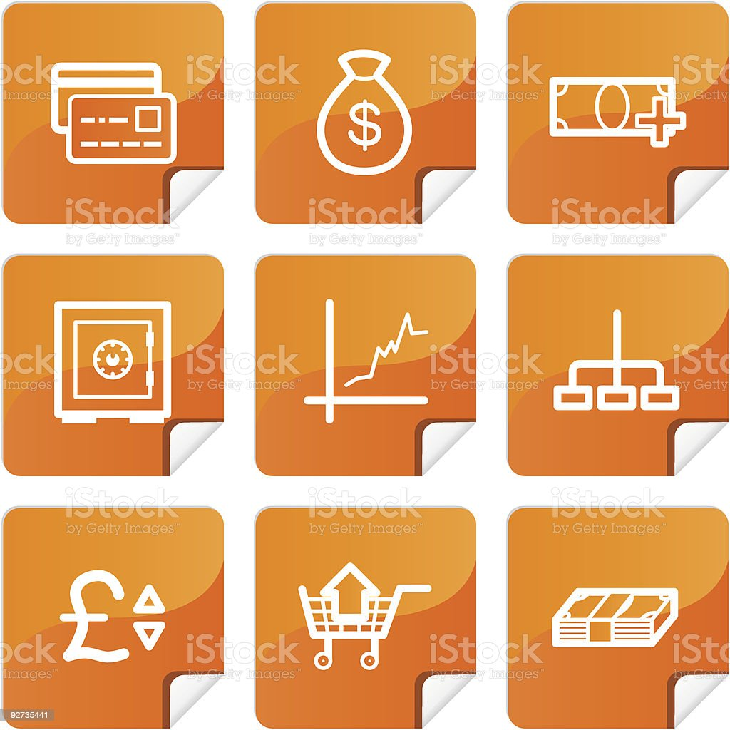 Orange stickers finance icons set royalty-free stock vector art