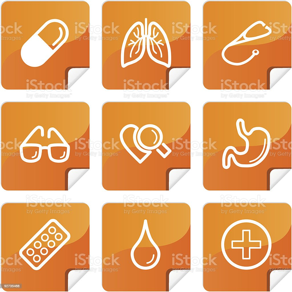 Orange stickers medicine icons set royalty-free stock vector art