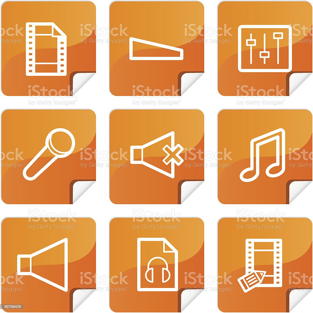 Orange stickers mutimedia icons set royalty-free stock vector art