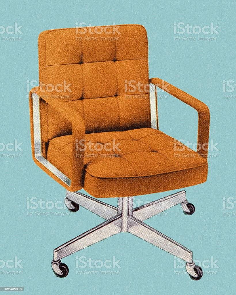 Orange Vintage Office Chair vector art illustration