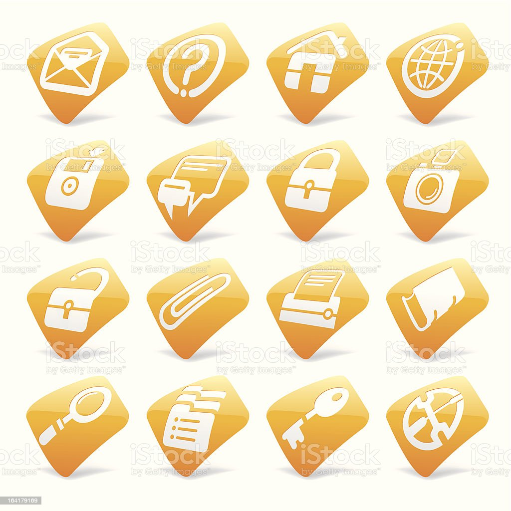 Orange website and internet icons 1 royalty-free stock vector art
