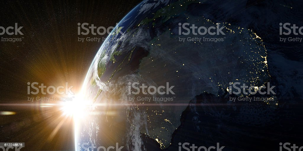 Orbital view on Earth from space vector art illustration