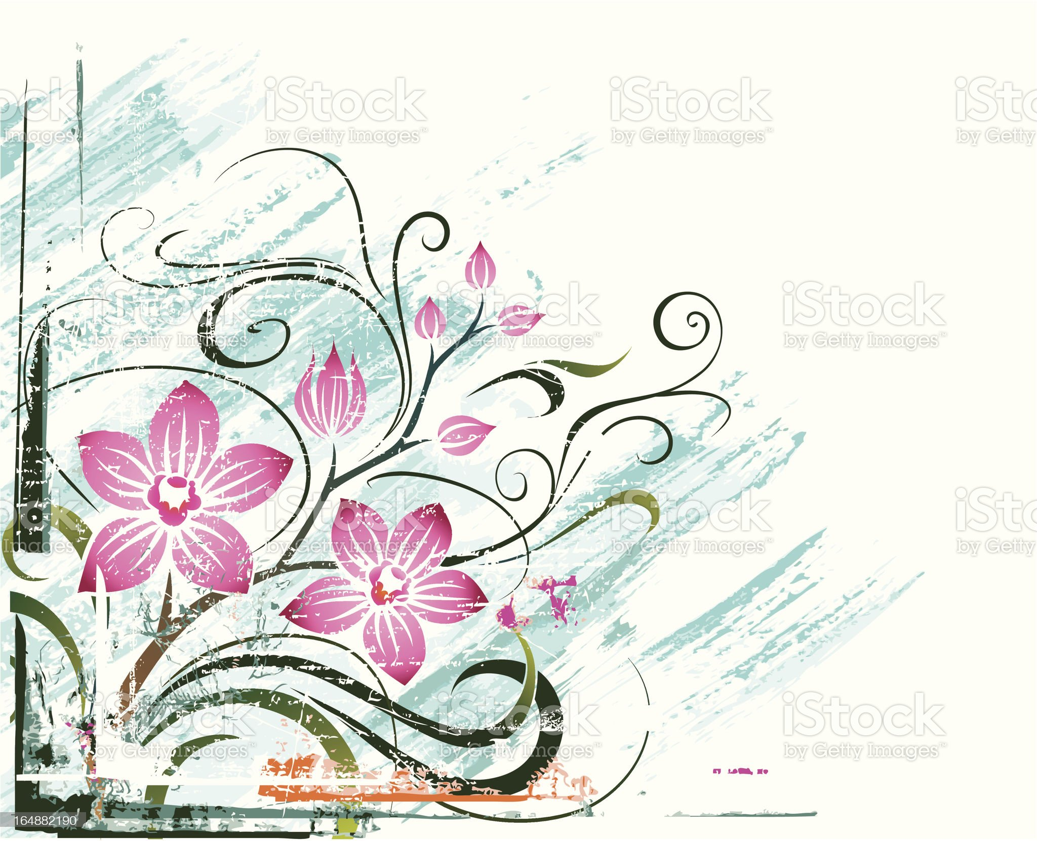Orchid. Grunge background. royalty-free stock vector art