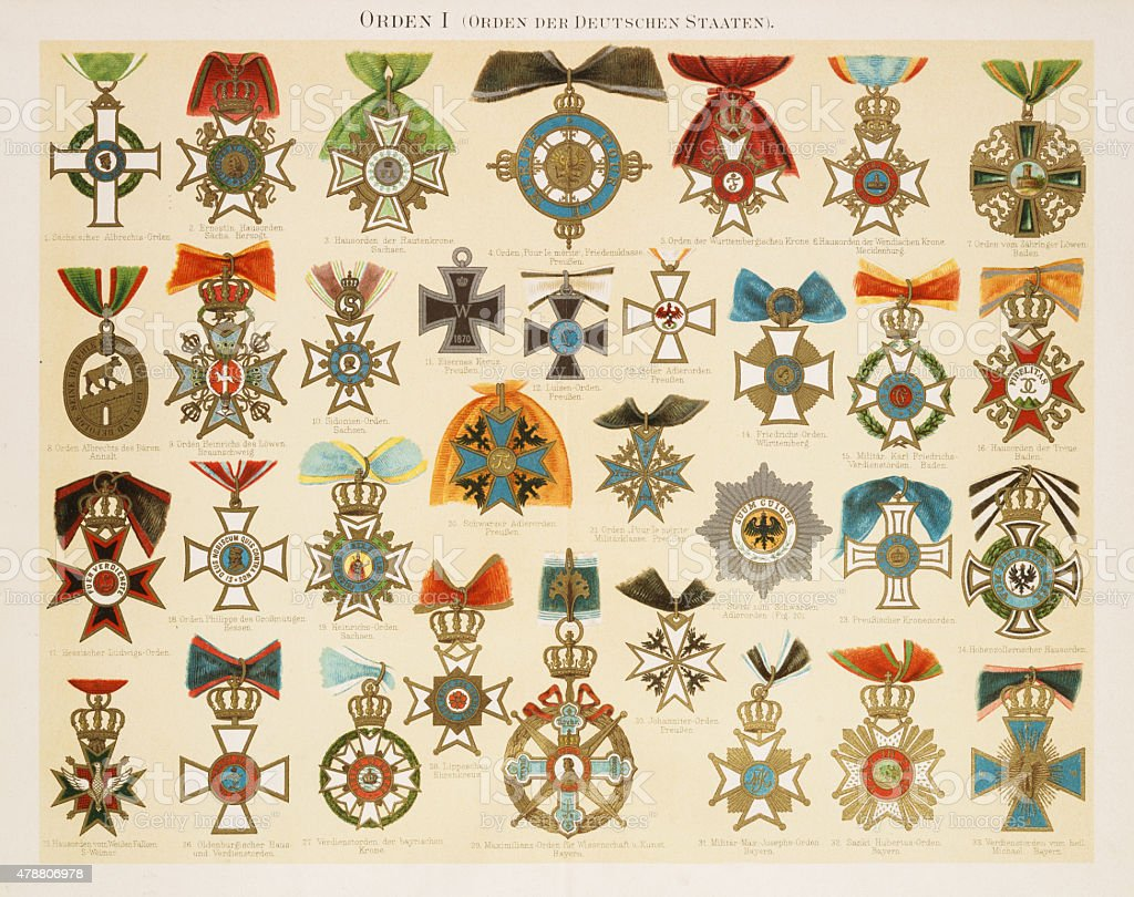 Orders of Merit Chromolithograph 1895 vector art illustration