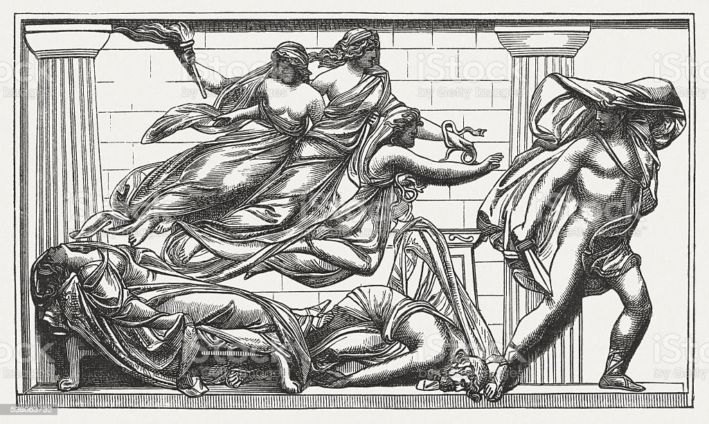 Orestes murdered his mother, Greek mythology, wood engraving, published 1880 vector art illustration