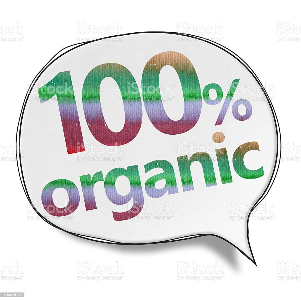 %100 Organic - Speech Bubbles (Clipping Path) vector art illustration