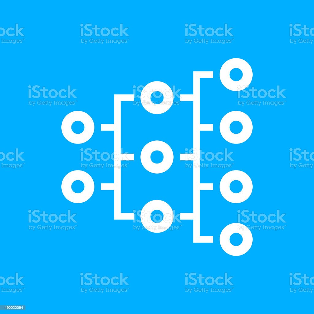 Organization Chart icon on a blue background. - Smooth Series vector art illustration