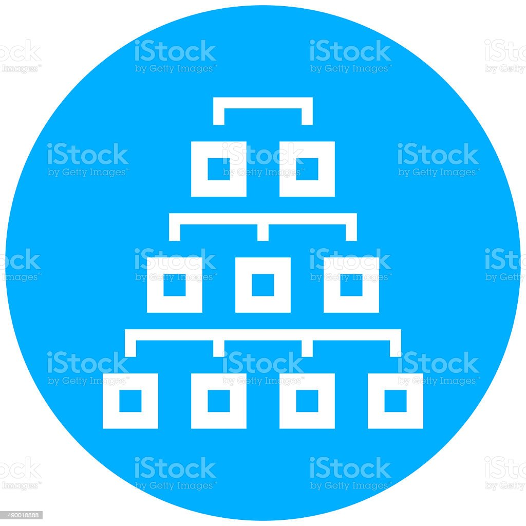 Organization Chart icon on a round button. - Round Series vector art illustration