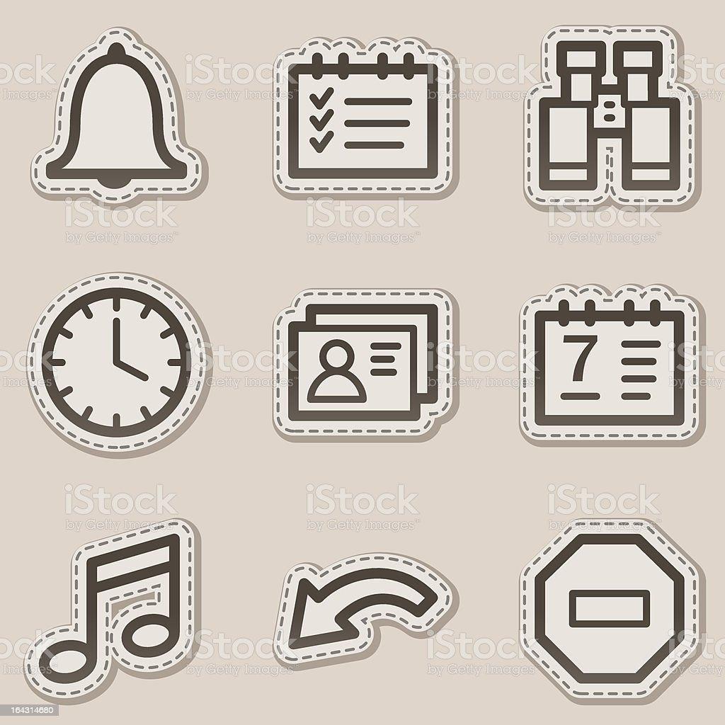 Organizer web icons brown contour sticker series royalty-free stock vector art