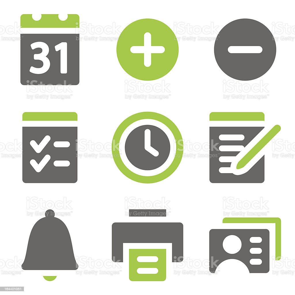 Organizer web icons, green grey solid series royalty-free stock vector art