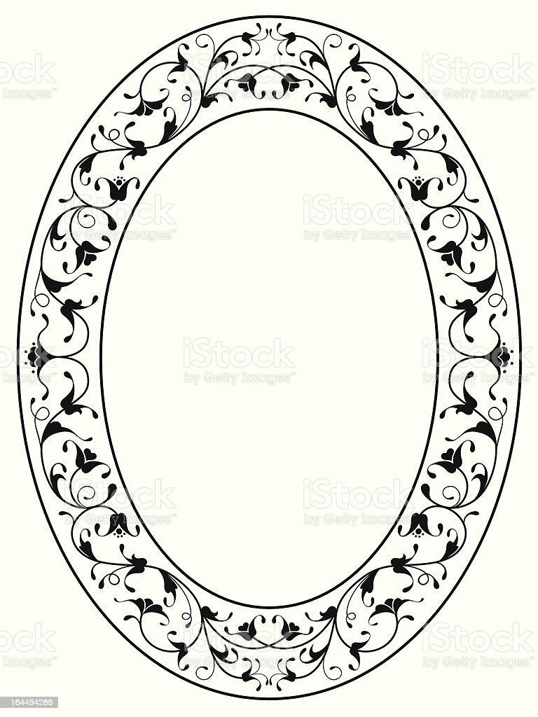 oriental floral ornamental black oval frame royalty-free stock vector art