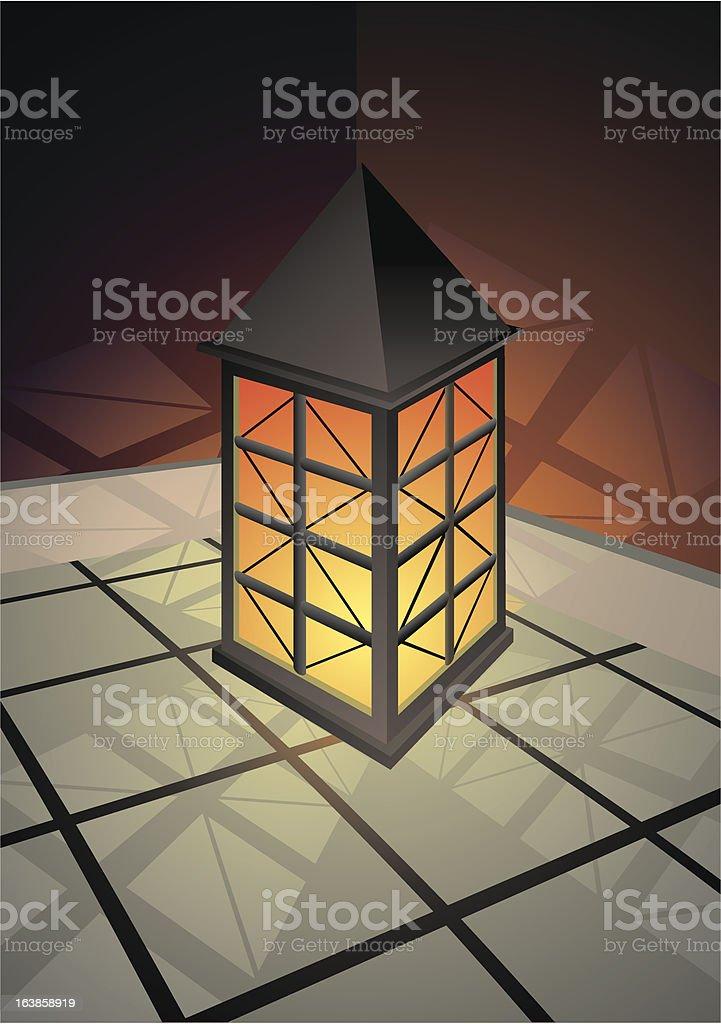 oriental lantern vector art illustration