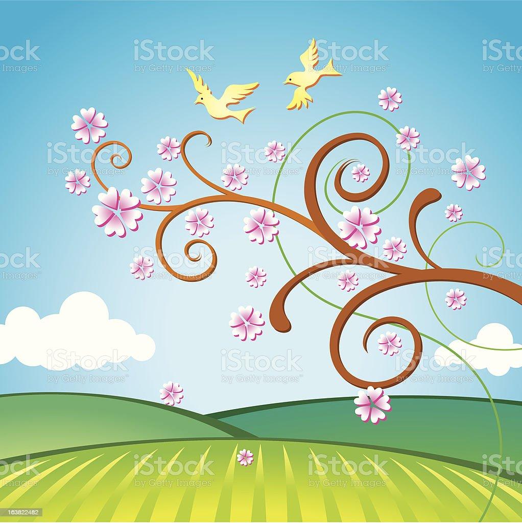 Oriental spring vector art illustration