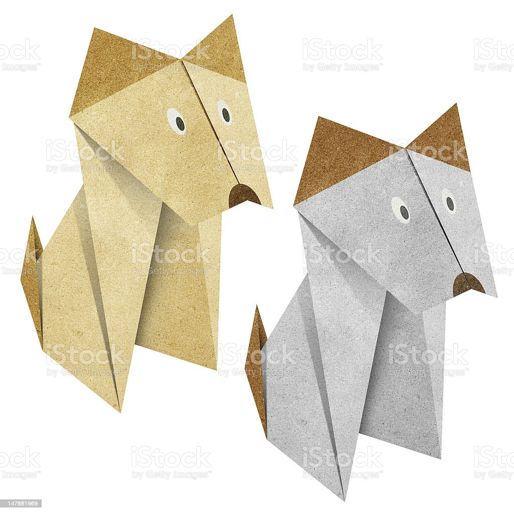 Origami dog Recycled Papercraft royalty-free stock vector art