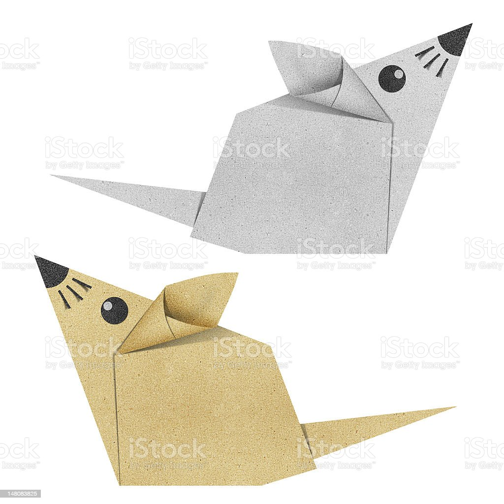 Origami mouse recycled papercraft royalty-free stock vector art