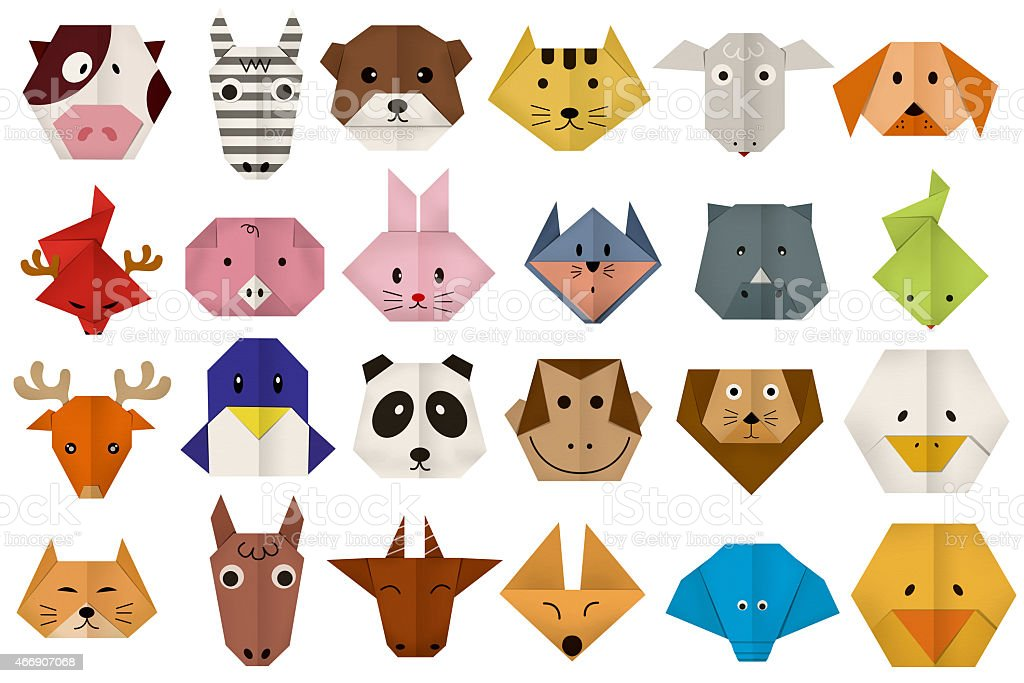 tous les animaux origami papier visage stock vecteur libres de droits 466907068 istock. Black Bedroom Furniture Sets. Home Design Ideas