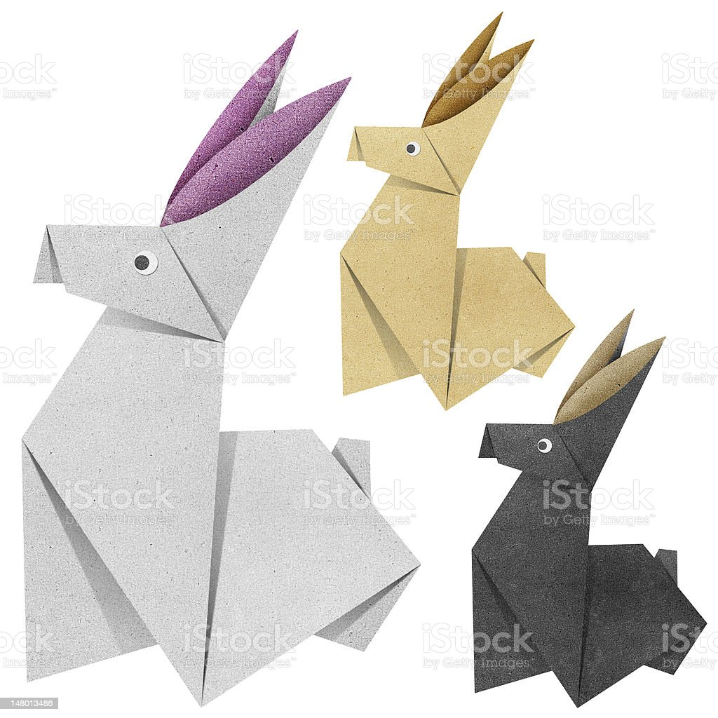 Origami rabbit Recycled Papercraft royalty-free stock vector art