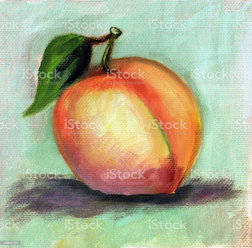 Original Art Acrylic painting Peach Fruit vector art illustration
