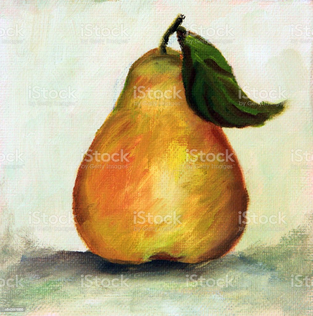 Original Art Acrylic painting Pear Fruit vector art illustration