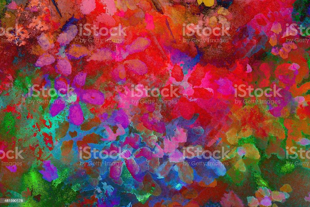 Original Art Impressionistic Multicolored Watercolor Flowers vector art illustration