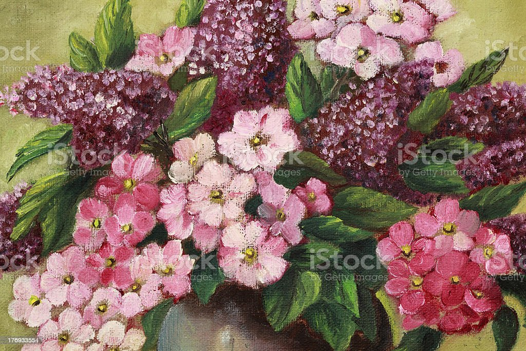 Original Art Lilacs and Phlox vector art illustration