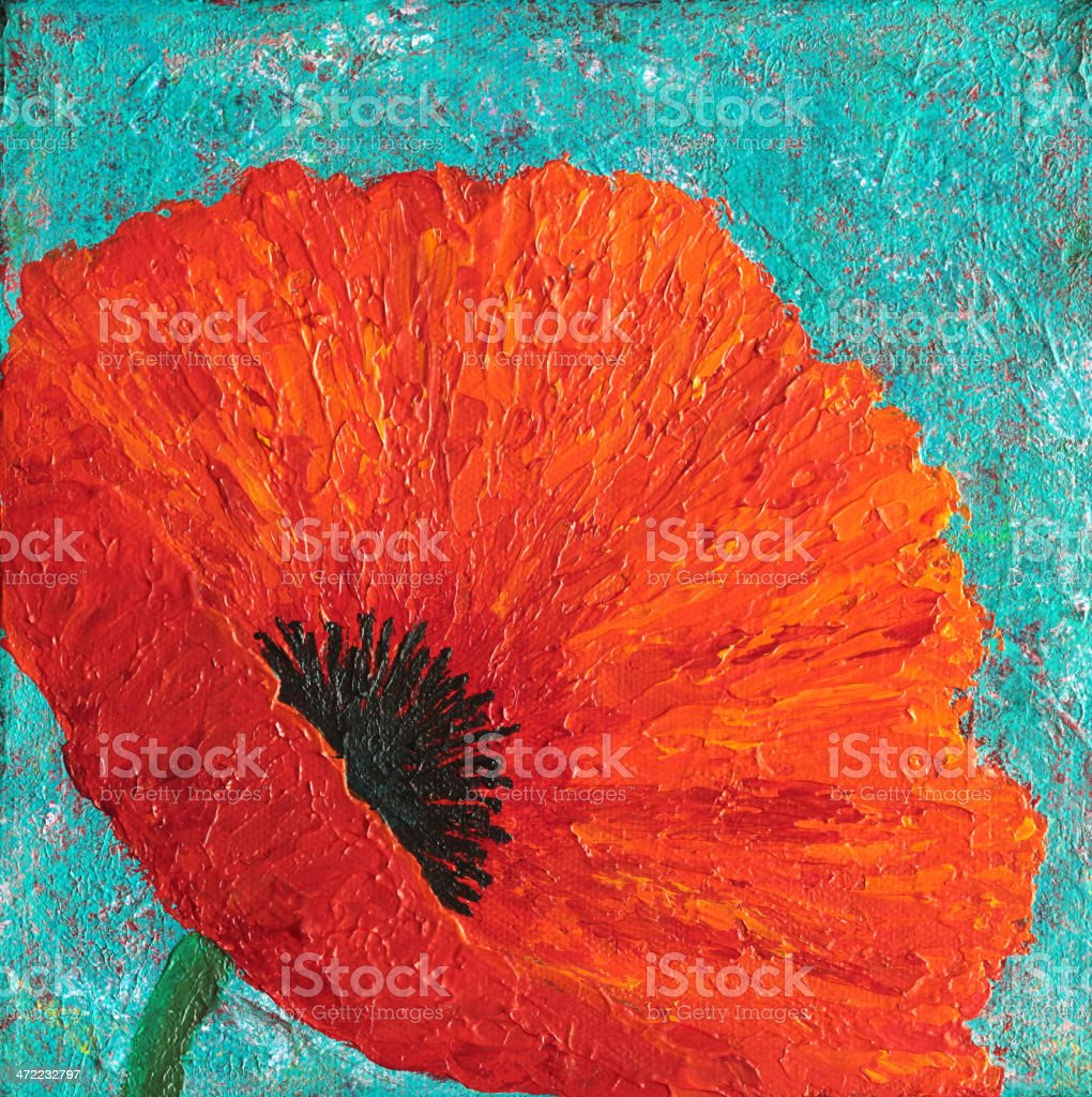 Original Art painting of Red Poppy on Turquoise Blue vector art illustration