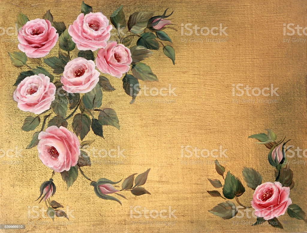 Original Art Pink Roses acrylic painting on wood vector art illustration