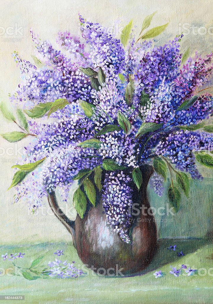 Original Art Vase of Lilacs Still Life vector art illustration