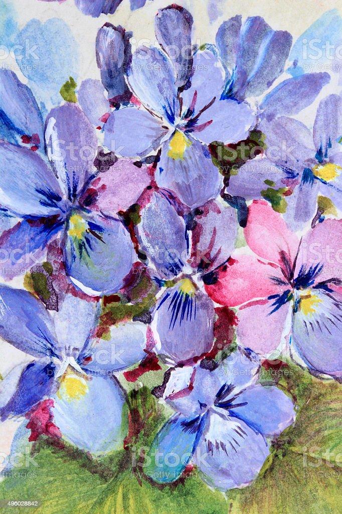 Original Art Violets vector art illustration