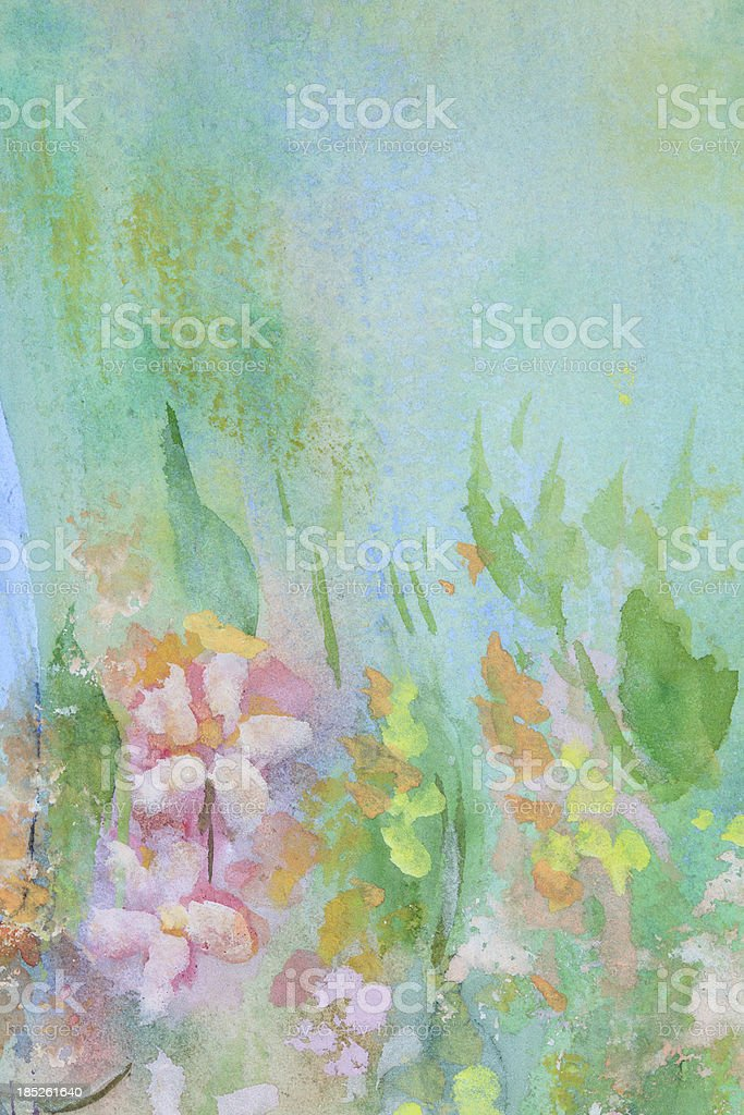 Original Art Watercolor Flowers vector art illustration