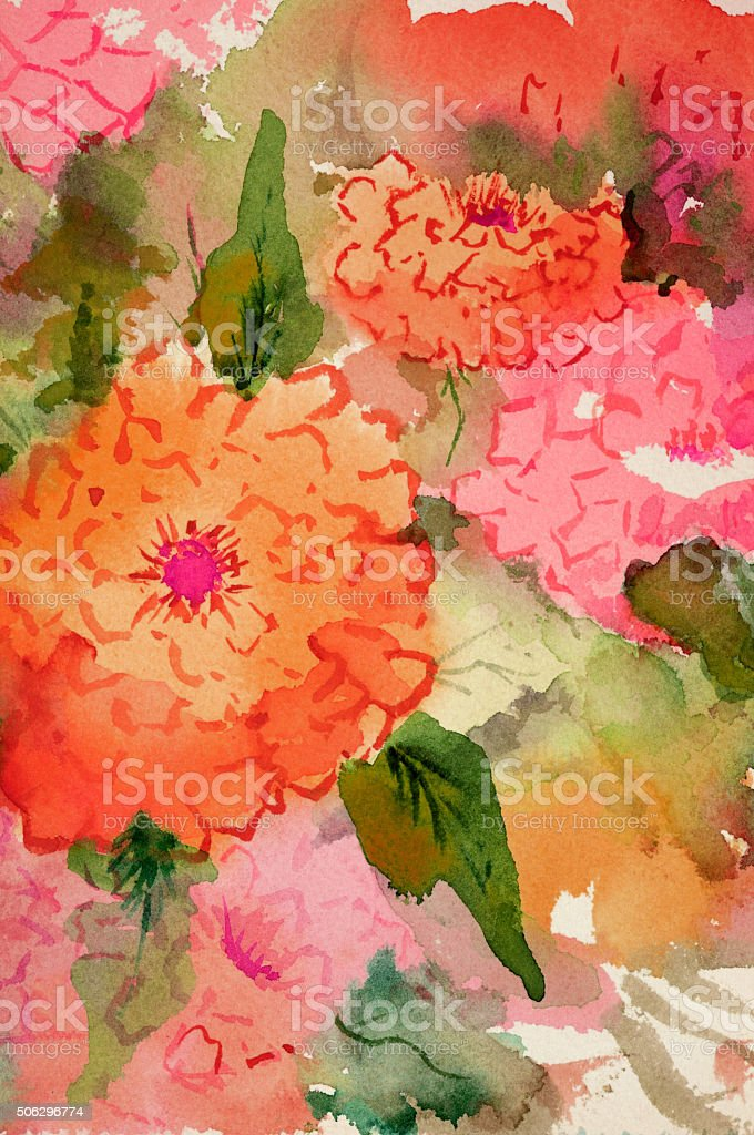 Original Art Watercolor Zinnia Flowers in orange pink and red vector art illustration