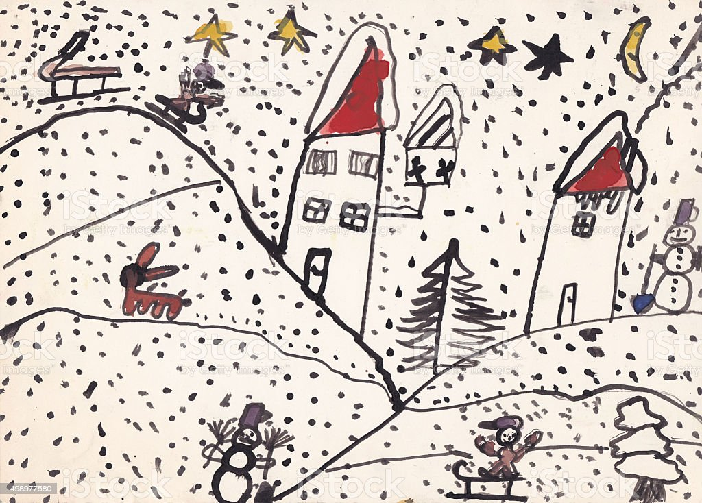 Original child illustration of winter landscape (ink on paper) vector art illustration