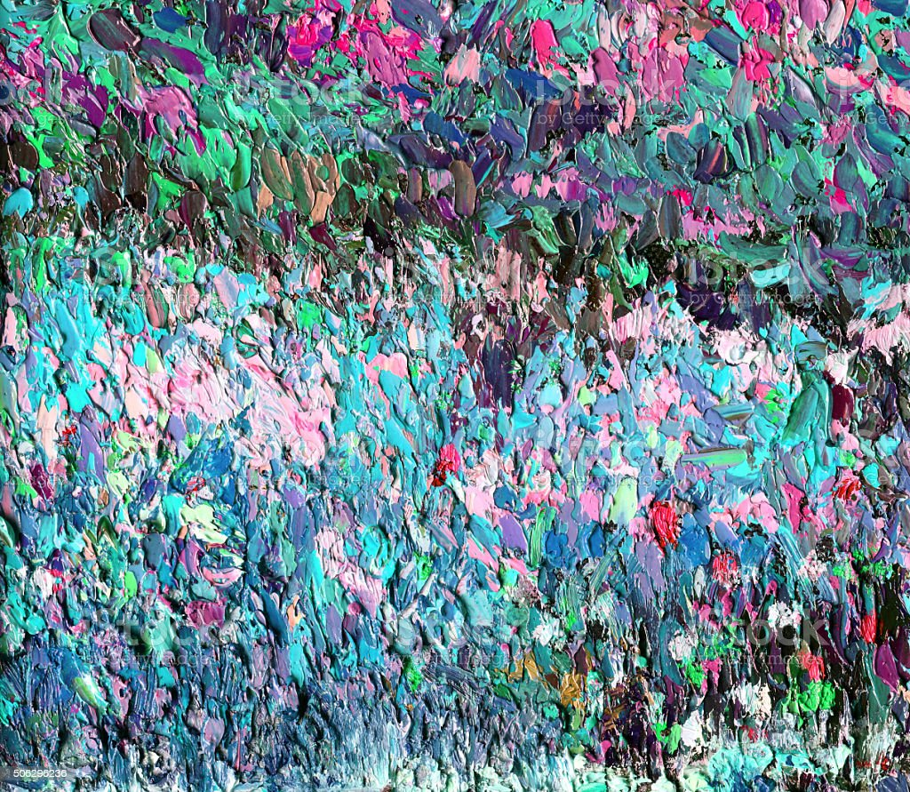 Original Impressionist abstract Art painting in turquoise and pink vector art illustration