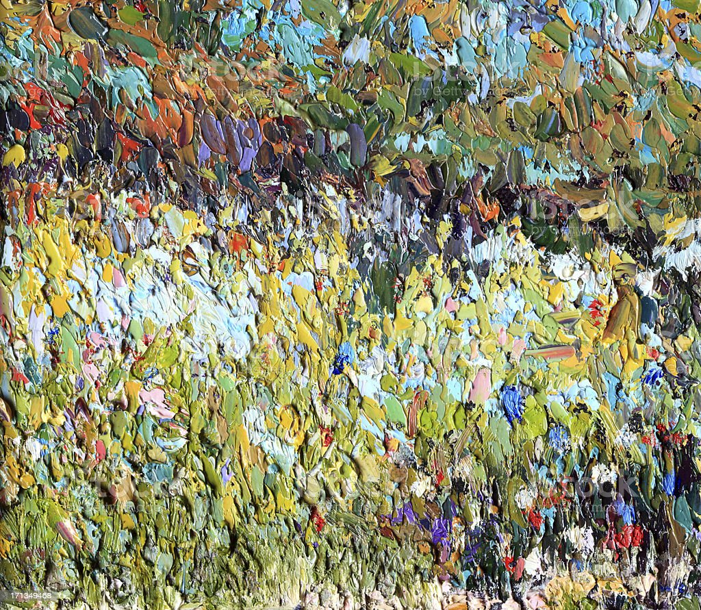 Original Impressionist Art painting of Meadow with Flowers vector art illustration