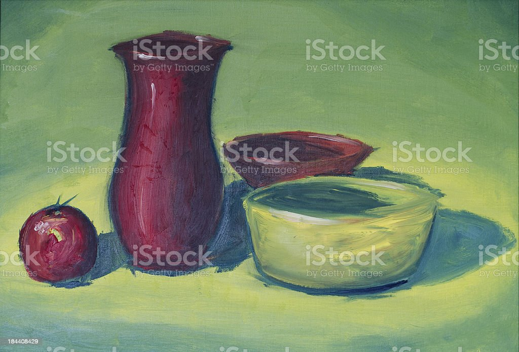 Original oil painting of apple and pots royalty-free stock vector art