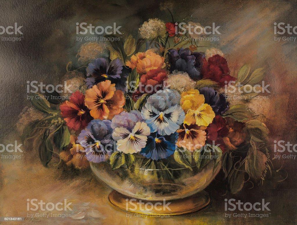 Original Oil Painting Of Colorful Flower Arrangement In Gold Bowl vector art illustration